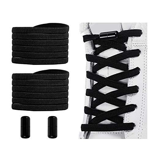 No Tie Shoelaces, Elastic Shoelaces for Adults/Kids,Elastic No Tie Shoe Laces Black