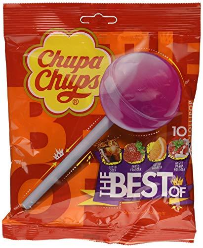 Chupa Chups Lecca Lecca The Best Of, Lollipop Frutti Assortiti Gusto Cola, Fragola, Arancia e Panna Fragola, 6 Confezioni da 10 Lollipop Monopezzi