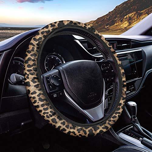 POLERO - Funda para volante de coche, diseño de leopardo, transpirable, antideslizante