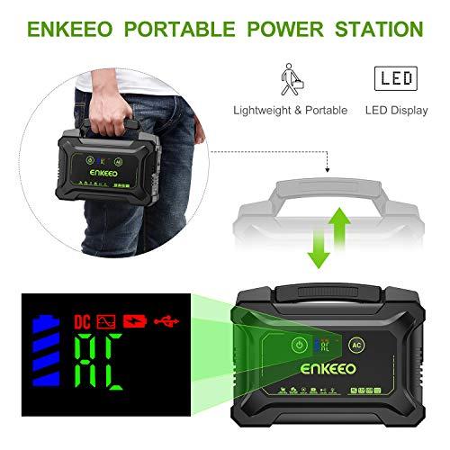 ENKEEO 220W / 60000mah Générateur Batterie Externe Portable Groupe Eléctrogène Alimentation de Secours avec Ecran LED et AC/DC/QC/USB pour Maison Chantier Camping