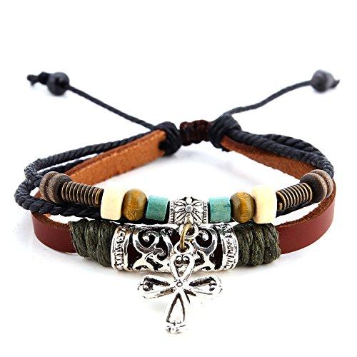 Morella pulsera de cuero con perlas y colgante cruz para damas