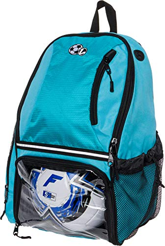 LISH Soccer Backpack - Large School Sports Gym Bag w/ Ball Compartment (Aqua)