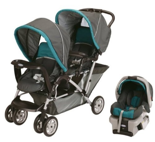 Graco DuoGlider Folding Double Baby Stroller W Car Seat Travel Set
