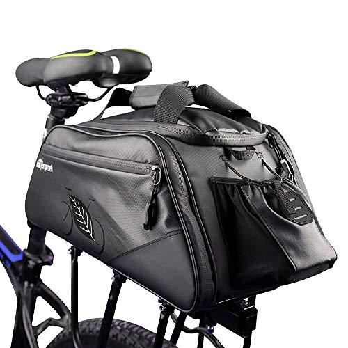 Allnice Bike Trunk Bag 11L Bicycle Panniers Pack Cycling Luggage Accessories Water Resistant Rear Seat Pannier Bag Shoulder Handbag Bag Pannier Black