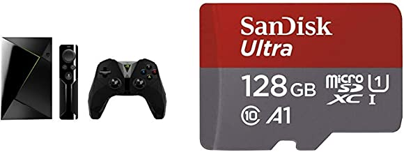 Nvidia Shield TV - Reproductor de Streaming para Jugadores + Mando inalámbrico, resolución 4K HDR, Negro + SanDisk Ultra - Tarjeta de Memoria microSDXC de 128 GB con Adaptador SD: Amazon.es: Informática