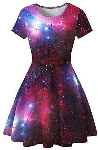Sister Amy Women s Galaxy Printed Elastic Round Neck Sleeveless Shaping Camisole Skater A-Fuchsia Galaxy S