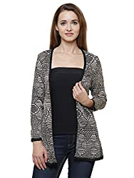 MansiCollections Gold and Black Cardigan for Women