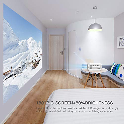Projector APEMAN Portable Mini Projector 4500 Lumens Support 1080P Max 180' Display LCD Home Cinema Projector 50000 Hours LED Life HDMI/VGA/USB/SD/AV Input Chromecast Compatible(White)