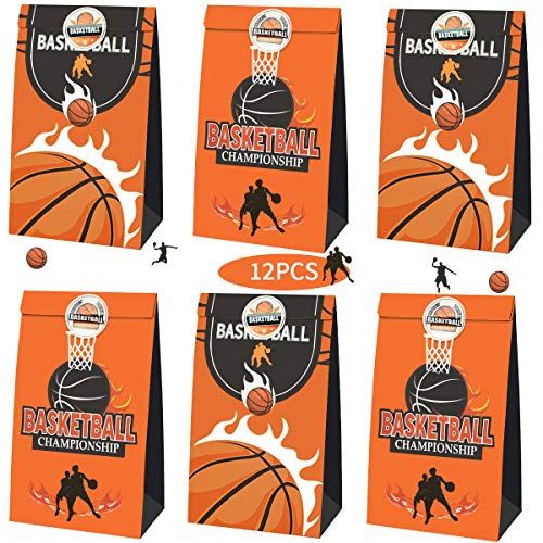 TONIFUL Basketball Candy Favor Sports Party Bags Goodie Gift Treat Bags for Basketball Themed Party Ideas Kids Birthday Decoration Supplies