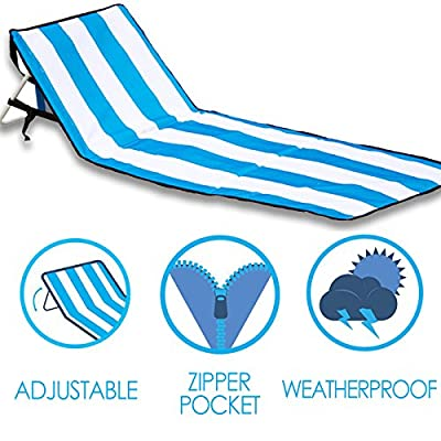 Beach Chair ? June & May Beach Chairs, Compact, Portable, Light-weight, Easy Set-Up, with Storage Pouch and Adjustable Back Beach Chair