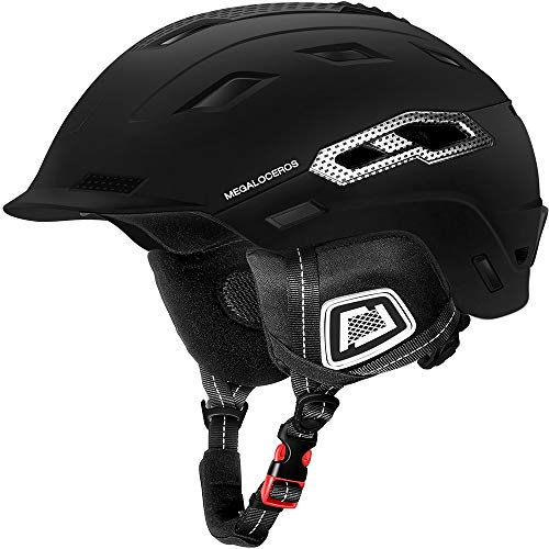 Megaloceros Snowboard & Ski Helmet with 2 Different Size Liners, ASTM Certified, Lightweight, Shockproof System for Men, Women and Youth, Black, M