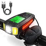 KOYOSO Luci LED Bicicletta, IPX4 Impermeabile Ricaricabili Luci Bicicletta LED con Clacson e Luce di Emergenza, Integrato Contachilometri Bici con LCD Schermo