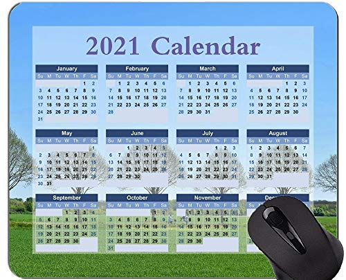 Gaming Mouse Pad 2021 Year Calendar with Holiday,Trees Row of Trees Landscape Mouse Pad with Stitched Edge