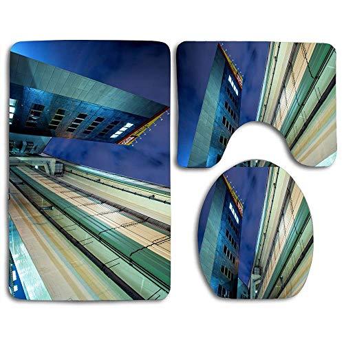 N\A Non-Slip 3 Piece Soft Buildings, City of Yokohama, Japan Bath Rugs Set Washable Bathroom Rug + Contour Mat + Toilet Seat Cover,Floor Rug for Doormats Tub Shower Room Decorations