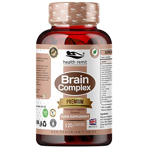 Health Remit's Brain Support Complex – All-Natural, Vegan, Non-GMO Dietary Supplement – for Focus, Memory, Concentration, and Neuro-Nutrition – 120 Capsules
