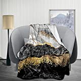 JIMICOW Black Gold Marble Fleece Blanket Soft Plush Flannel Throws Blankets for Couch Bed Sofa 50X40 Inch - All Season Lightweight, Warm, Cozy