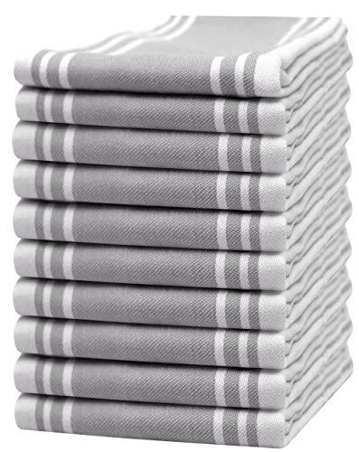 """Bumble Towels 10er Pack Set Küchenhandtücher Vintage / 20"""" x 28""""/ 50 x 70 cm/Weich & Saugfähig / 100{2134800fb21fab012883a95d3d1b4a363a86c200064b3b4e73289ef792be1dde} ringgesponnene Baumwolle/Luxus Geschirrhandtücher (Grau)"""