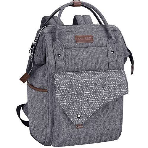KROSER Laptop Backpack 15.6 Inch Stylish School Computer Backpack Wide Open College Daypack Water-repellent Travel Business Work Bag with USB Charging Port for Women/Men-Grey