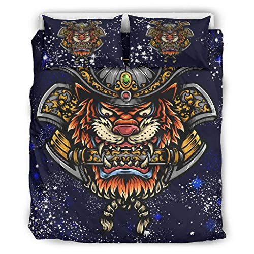 TengmiuXin Tiger 3 Pcs Soft Duvet Set Hypoallergenic 100% Cotton Quilt Case With Zipper Closure for bed Single Easy to Care white 104x90 inch