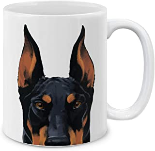 MUGBREW Black Rust Doberman Pinscher Dog White Ceramic Coffee Mug Tea Cup, 11 OZ