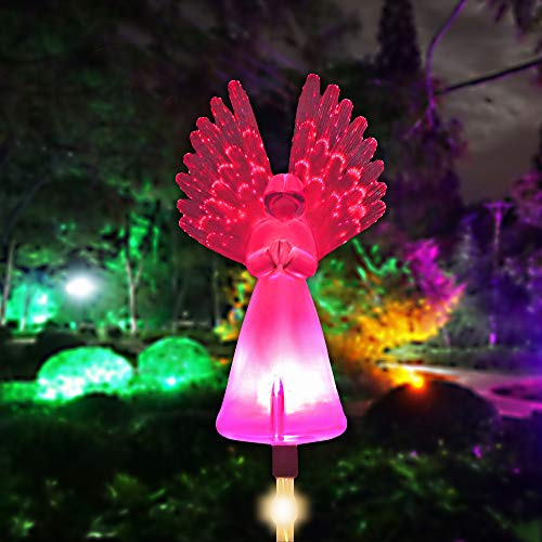 Outdoor Solar Garden Stake Lights Greenke Solar Angel for Cemetery Grave Yard Patio Decoration Multi-Color Changing Led Lawn Light Memorial Gifts Pathway Lamp Optic Fiber Wings