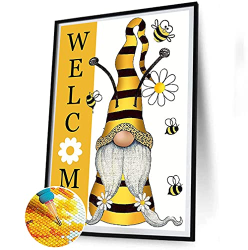 Bee Gnome Diamond Painting Kits for Adults and Kids, Painting with Diamonds Full Drill Round Welcome Gnomes Diamond DIY 5D Diamond Art and Crafts for Adults Home Wall Decor(16×12inch)