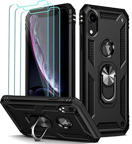 ivoler Funda para iPhone XR + [Cristal Vidrio Templado Protector de Pantalla *3], Anti-Choque Carcasa con 360 Grados Anillo iman Soporte, Hard Silicona TPU Caso - Negro