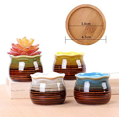 Lange set met 4 kleurrijke bloempotten van keramiek met dienblad van bamboe, vetplantenpot, mooie decoratie voor thuis, kantoor, tafel, raam, tuin, woonkamer