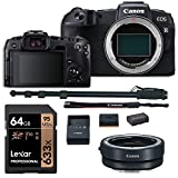 Canon EOS RP Mirrorless DSLR Camera Body, Lens Converter, Lexar 633x U3 64GB Memory Card, Monopod and Spare Battery