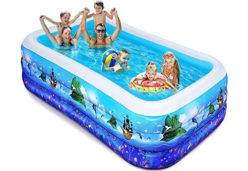 iBaseToy Aufblasbarer Pool für Kinder, 118x69x22 zoll aufblasbarer Blow Up Kiddie Pool für Kleinkinder Erwachsene, große Familien-Swimmingpools für den Garten Garten Gartenparty im Freien, ab 3 Jahren