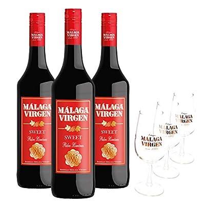 Pack Málaga Virgen Sweet - 3 bottles + 3 cups - Sweet liquor wine