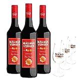 Pack Málaga Virgen Sweet - 3 botellas de 75 cl + 3 catavinos grabados - Vino de licor dulce D.O.'Málaga'