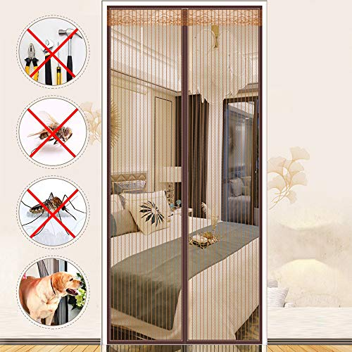 XHHXPY Fly Screens for Doors Magnetics Polyester Door Curtain Super Quiet Stripes Encryption Anti Pest Magnetic Soft Door Keep Fresh Air in and Flying Insects Out Without Drilling,Brown,100210cm
