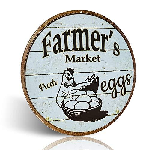 Segni in metallo per il mercato del contadino per le uova fresche, stile retrò vintage chic, decorativi in metallo vecchio per decorazioni da parete in fattoria, regalo 30,5 x 30,5 cm