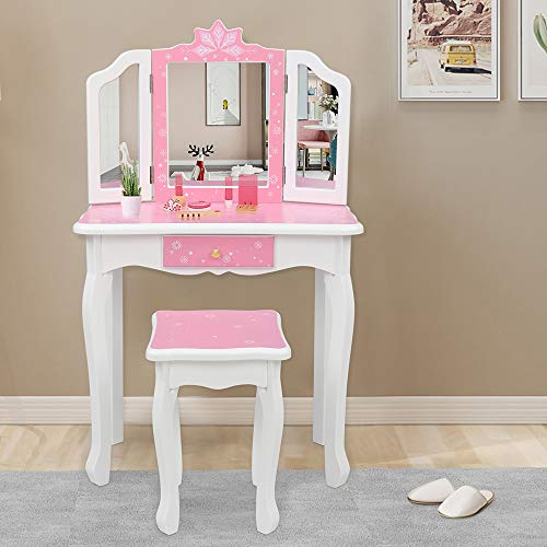 JOYMOR Kids Vanity Set, Wooden Princess Makeup Table with Stool, Tri-Folding Mirror, Large Drawer, Solid Wooden Legs Pretend Beauty Make Up Dressing Play Set for Girls Best Gift (Pink)