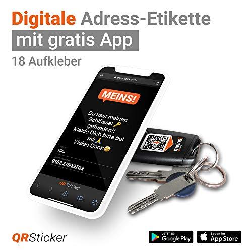 Schlüsselfinder und Handyfinder von QRSticker: Aufkleber mit QR-Code und kostenloser Handy-App zum Finden verlorener Wertgegenstände wie Schlüssel, Handy, Fotoausrüstung oder Gepäck auf Reisen.