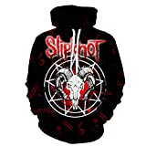 DSFF 20-21 Slipknot Scarlet Cabeza de Cabra Sudadera con capucha, Unisex Funk Rock, Moda Negro Rojo-S