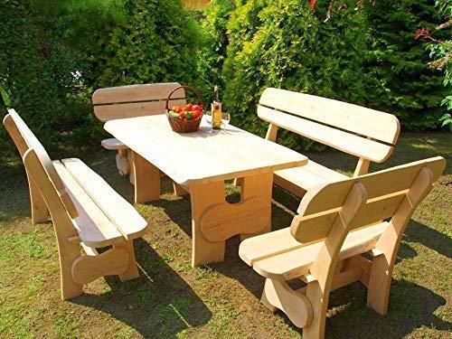 Sitzgruppe Horrido - 3 teilig I I Bank und Tisch aus massiver Eiche | Made in Germany | Gartenmöbel