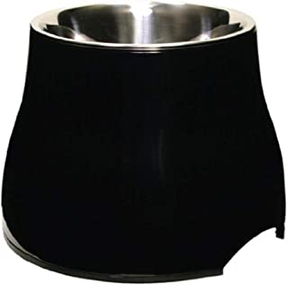 Dogit Elevated Dog Bowl, Stainless Steel Food & Water Dish for Dogs, Large, Black