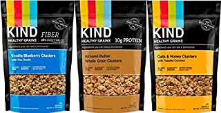 KIND Healthy Grains Clusters Granola Cereal variety pack - 3 flavor (Oats & Honey with toasted coconut, Vanilla Blueberry, & Almond Butter Granola) (3)