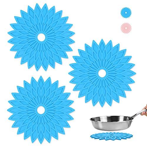 3 alfombrillas de silicona resistentes al calor para ollas calientes y sartenes, antideslizante para cocina, mesa y encimera, color azul