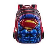 3D Superman Batman Spiderman Capitán América Mochila para niños Niños Escuela Primaria Kindergarten Infantil Niños-Spuerman Rojo m