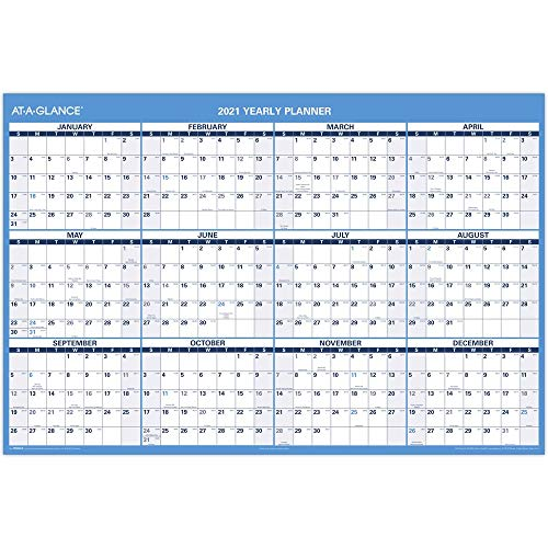 2021 Erasable Calendar, Dry Erase Wall Planner by AT-A-GLANCE, 48' x 32', Jumbo, Academic & Regular...