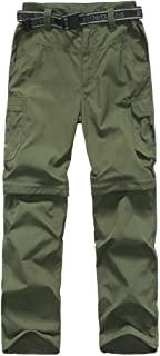 Boy's Convertible Hiking Pants Lightweight Quick Dry Zip Off Pants for Kids Youth Outdoor UPF 50+ Casual Cargo Trousers