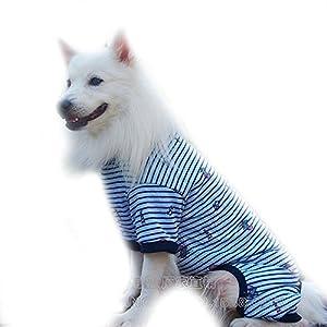 FLAdorepet Strip Big Large Dog Labrador Jumpsuit Hoodie Clothes Cotton Dog Pajamas Jacket Coat Golden Retriever Dog Clothing for Large Dog