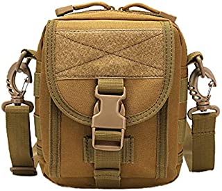 SODIAL Molle Messenger Camouflage Crossbody Bag Nylon Single Shoulder Chest Pack Sling Bags for Hiking and Traveling Mud Color