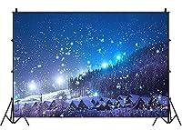 lovedomi 8x6ft 冬 クリスマス カントリー ビレッジ 夜景 森の木 雪の結晶 輝くライト 青い空 写真撮影の背景 スタジオ ブース 家族の誕生日パーティー スタジオ小道具 ビニール素材