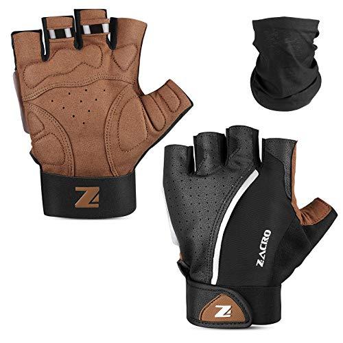 Zacro Halbfinger Fahrradhandschuhe, Gel-Pad Stoßdämpfung,Leichte, rutschfeste,Atmungsaktive, Verbesserte Fahrradhandschuhe, mit Schwarzem Kopftuch,Unisex XL