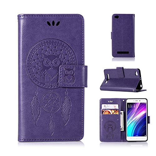 BCIT Xiaomi Redmi 4A Funda - [Patrón de búho] Carcasa Libro de Cuero con Tapa y Cartera,Soporte Plegable,Ranuras para Tarjetas y Billetera,Cierre Magnético para Xiaomi Redmi 4A - Púrpura