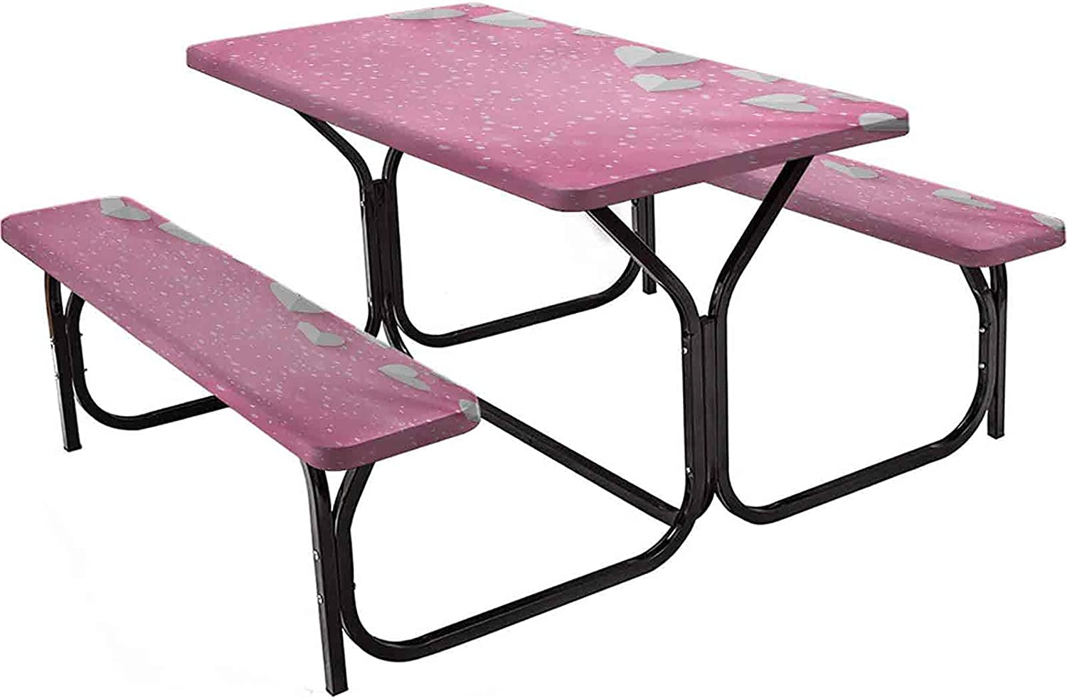 Pink and Selling rankings White Polyester Picnic Table 3D Hearts Style Dealing full price reduction As Butter